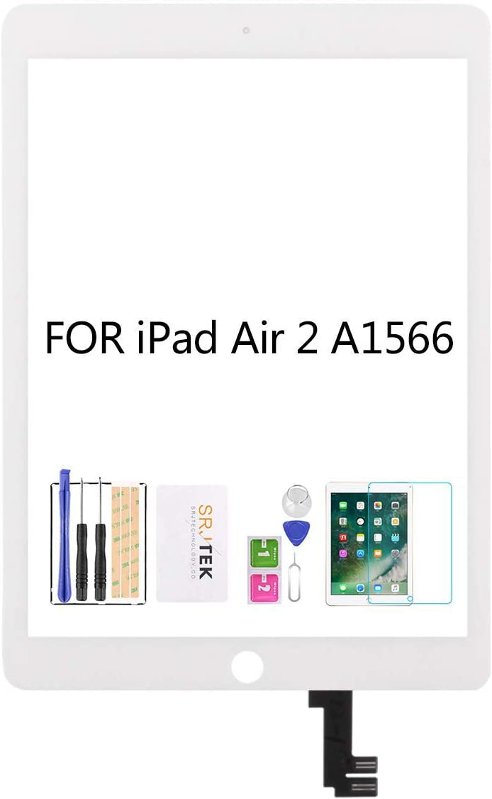 SRJTEK for iPad Air 2 2nd Gen 9.7 A1566 A1567 Touch Screen Replacement Kit,(Not LCD, NO Instructions) Touch Digitizer,Glass Repair Parts,Include Tempered Glass (White)
