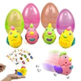 UNGLINGA Large Prefilled Wind Up Chicks Easter Eggs Basket Stuffers Decorations for Toddler Boys Girls Kids Gift LED Flashing Chicken Wings Toy Fillers Party Supplies with Stickers