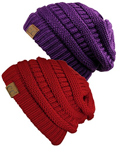 C.C Trendy Warm Chunky Soft Stretch Cable Knit Beanie Skully, 2 Pack Red/Deep ()