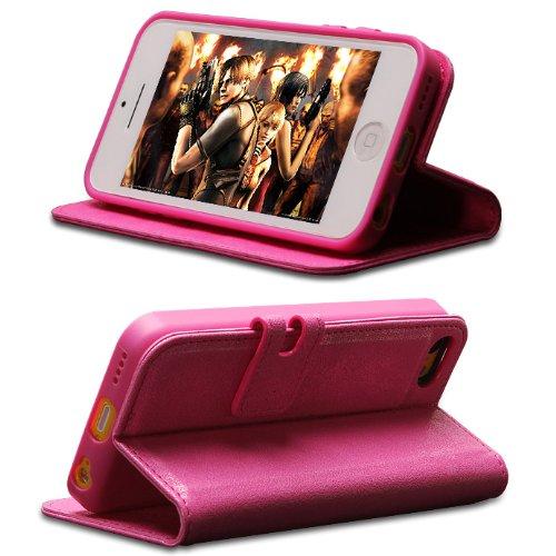 Blumax Ultraslim Wallet Bookstyle Case Hülle Etui cover tasche für iPhone 5C mit Standfunktion Kunstleder Pink