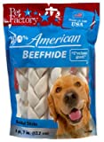 Pet Factory 78106 Dog Treats, American Beefhide Rawhide Braid, Medium, 6-Pk. - Quantity 10