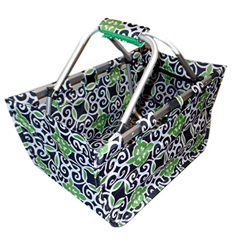 Fashion Print Aluminum Frame Collapsible Utility Market Tote (Black / Green Morocco Print)