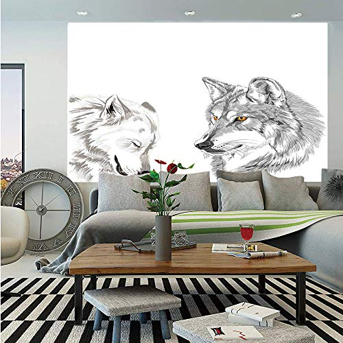 (Sketchy Wall Mural,Two Wolf Portraits Sleeping Hunting Carnivore Animals Nature Wildlife Theme Decorative,Self-Adhesive Large Wallpaper for Home Decor 55x78 inches,Beige Grey)