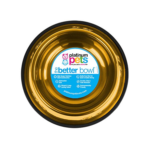 Platinum Pets Non-Tip Stainless Steel Dog Bowl, 80 Oz, Gold, X-Large