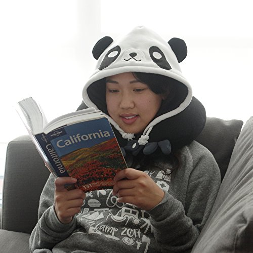 Panda Hooded Animal Plush Neck Pillow, Microbeads for Comfort with Adjustable Drawstring, Perfect For Airplane Travel, Neck Support, as a Panda costume, Gift for Panda Lovers, Designed In Japan by Chibiya (Image #3)