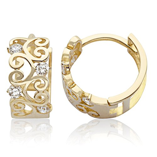 14K Yellow Gold Huggie Hoop Earring CZ with Ornate Design for Women and Girls