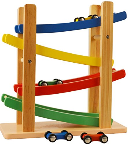 Wooden Car Ramps Race - 4 Level Toy Car Ramp Race Track Includes 4 Wooden Toy Cars - My First Baby Toys - Race Car Ramp Toy Set Is A Great Gift For Boys and Girls - Original - By Play22 (Wooden Race Cars Set)