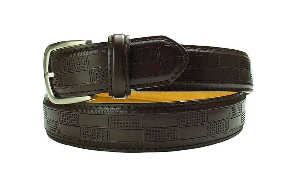 LFA Mens Embossed Block Design Leather Dress Belt