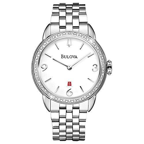 Bulova Diamond White Dial Stainless Steel Ladies Watch 96R183