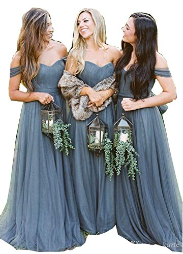 Fanciest Women's Off The Shoulder Tulle Long Bridesmaid Dresses 2018 Wedding Party Dress Dusty Blue US6 (Blue Tulle Dress Womens)