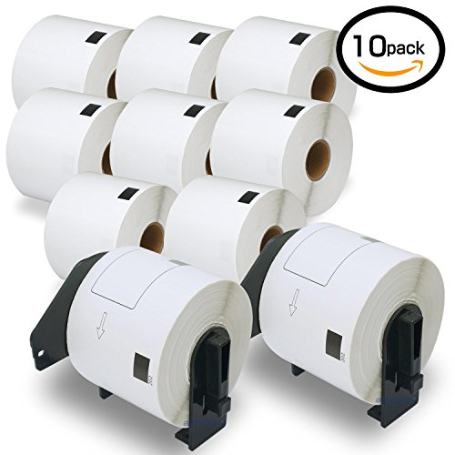 """10 Rolls Brother-Compatible DK-1202 62mm x 100mm(2-3/7"""" x 4"""") 300 Shipping Labels per Roll With Two Refillable Cartridge"""