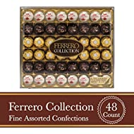 Ferrero Rocher Fine Hazelnut Milk Chocolate and Coconut Confections, 48 Count, Assorted Chocolate Candy Collection, Valentine's Day Gift Box