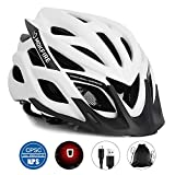 MOKFIRE Adult Bike Helmet CPSC Certified with Rechargeable USB Light, Bicycle Helmet for Men Women Road Cycling & Mountain Biking with Detachable Visor/Replacement Lining, 22.05-24.41 Inches (White)
