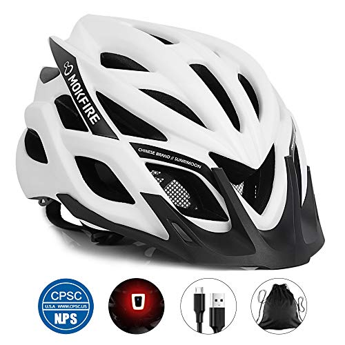MOKFIRE Adult Bike Helmet CPSC Certified with Rechargeable USB Light, BicycleHelmet for Men Women Road Cycling & Mountain Biking with Detachable Visor/Replacement Lining, 22.05-24.41 Inches (White)