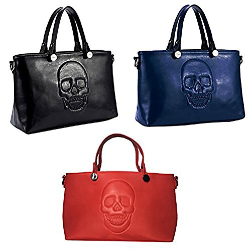 Mechaly - Bolso de tela para mujer Black, Blue & Red Satchel
