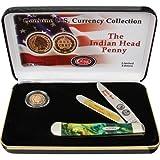 Case Cutlery CAT-IHP/CE Case's Indian Head Penny Corelon Handel Trapper Pocket Knife with Tru Sharp Surgical Steel Blades, Cats Eye Corelon