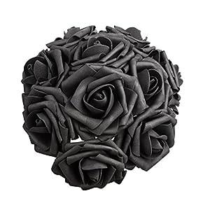 50 PCS Artificial Flowers Black Roses Real Looking Fake Roses DIY Wedding Bouquets Centerpieces Arrangements Party Baby Shower Home Decorations (Black-50Pcs)