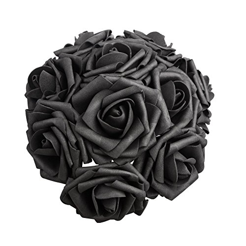 50 PCS Artificial Flowers Black Roses Real Looking Fake Roses DIY Wedding Bouquets Centerpieces Arrangements Party Baby Shower Home Decorations (Black-50Pcs)