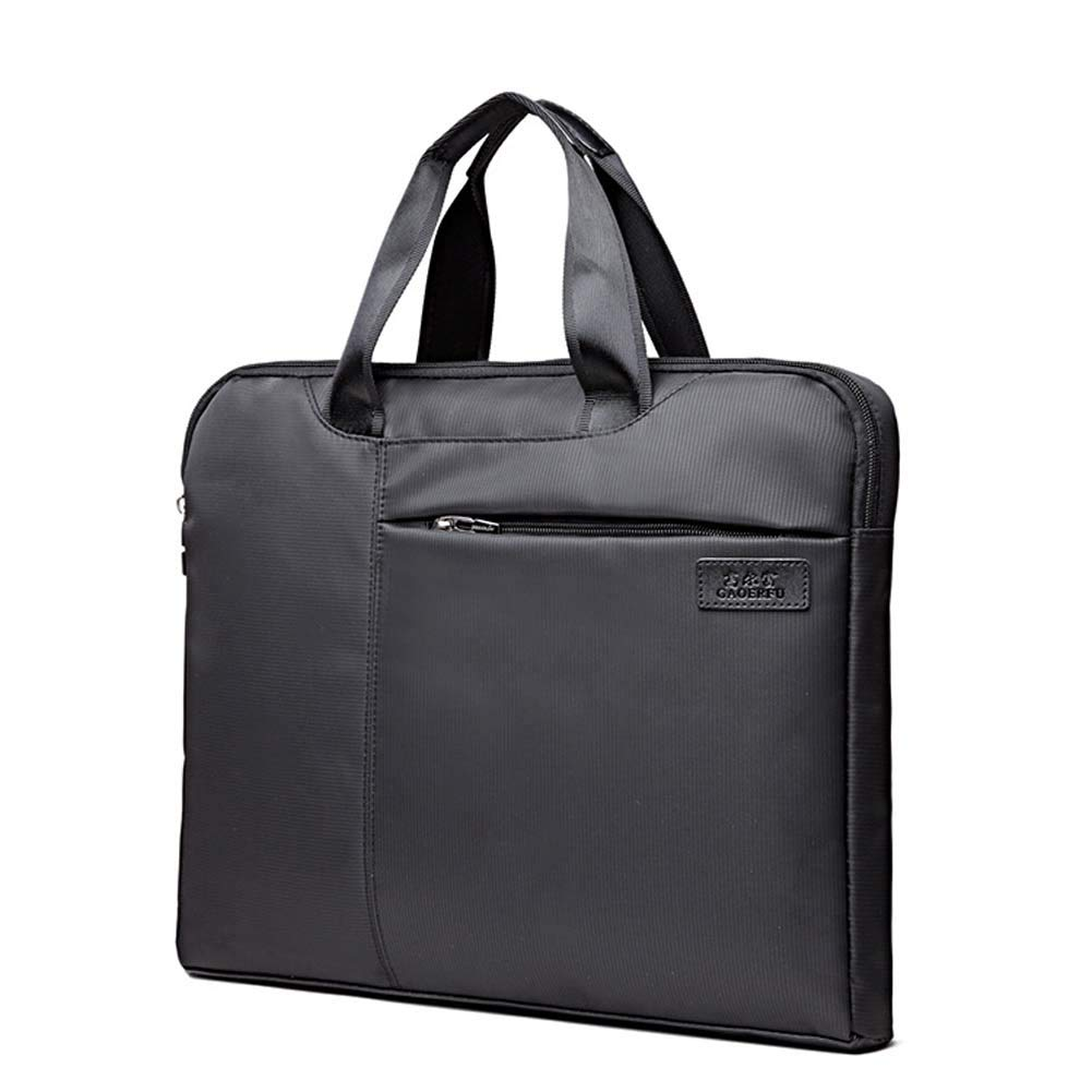 SHENWE Oxford Fabric Zipper Handbag Briefcase Double Layer Office Business Document Bag