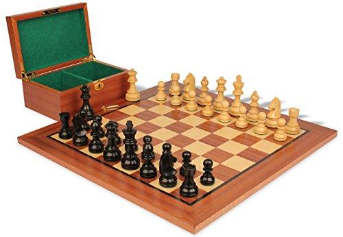 Knight Chess German Set (German Knight Staunton Chess Set in Ebonized Boxwood & Boxwood with Mahogany Board & Box - 3.75