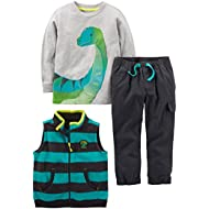 Toddler Boys' 3-Piece Fleece Vest, Long-Sleeve Shirt, and Woven Pant Playwear Set