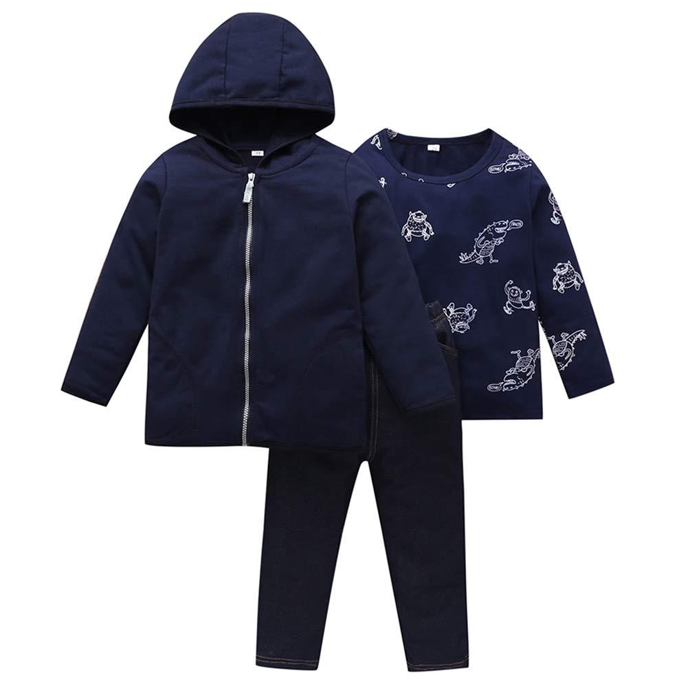 Children's Hooded Jacket+Pants+Sweatshirt Costume Suit Organic Cotton Three-Piece Sets 2-6 Years Dark Blue by Ardorlove
