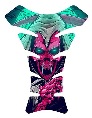 Size is 8.5 in tall x 6.5 in wide Vampire Grim Skull Reaper Dark Pink 3d Gel Motorcycle Sportbike 3D Gel Gas Tankpad Motorcycle TanK pad Decal Sticker