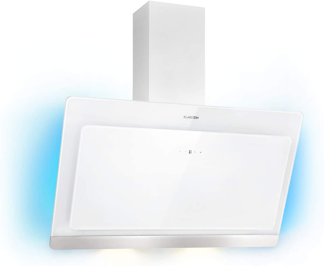 KLARSTEIN Aurora Eco 90 - Campana extractora, 550 m³/h, Bajo Consumo, Eco Excellence, Display LED, Balanced Light Concept, 3 Niveles, Diseño Compacto, Clase fluidodinámica A, Blanco