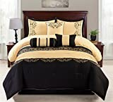 Oversized King Comforter Sets Sale 7 Piece Gold & Black Cotton Touch Oversized Embroidered Comforter Set (King)