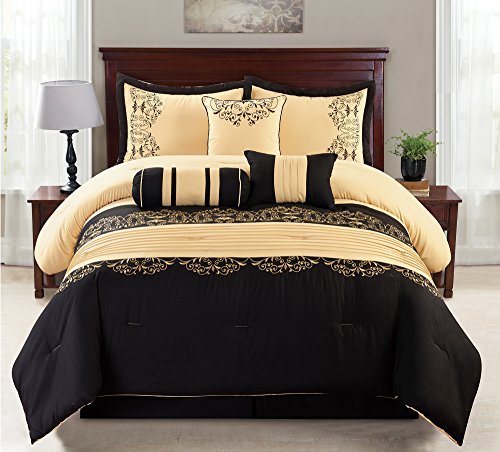 7 Piece Gold & Black Cotton Touch Oversized Embroidered Comforter Set (Queen) - Gold Queen 7 Piece Comforter