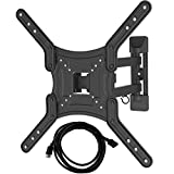 Bluestone Full Motion Articulating TV Wall Mount for 23-55 Inch LED LCD Plasma Flat Screen Monitor Up to 66 Pound VESA 400x400 with Tilt/Swivel/16 Inch Extension Arm/10 Foot HDMI Cable