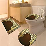 3 Piece Toilet Cover set Middle Eastern Ramadan Greeting Scrol Arch Figure Celebration Holy Eid Theme Fabric Extra Soft Memory Foam Combo - Rug, Contour Mat and Lid Cover