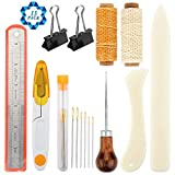 SOTOGO 15 Pieces Bookbinding Tools Set Bone