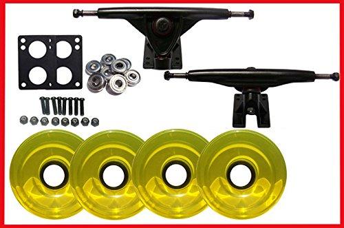 Longboard 180 mmブラックTrucksホイール& Abec 7 Bearings B06XJ7S7CW