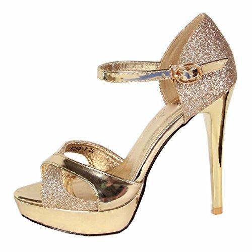 Dita Sottile Magri Donna Tacchi Scarpe Golden Sandali Scarpe Cinghia Dei Con Tacchi Lustrini Spessore Di Centimetri Dodici KPHY Fibbie Alti Da Piedi qYwOR8Pxq