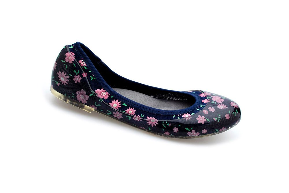 JA VIE Comfortable Slip On Shoes Jelly Flats Casual Footwear for Driving Walking, Baby Floral Navy SZ 39