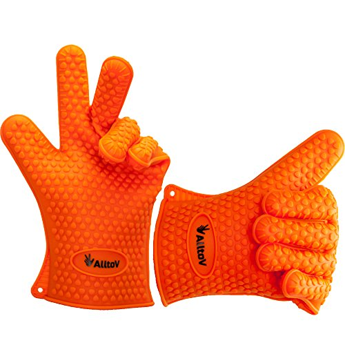 AlltoV Oven mitts, Silicone Cooking Gloves For Men & Women| Heat Resistant | For Baking, BBQ, Smoking, Grilling, Fireplace, Pot Holding & More| Dishwasher Safe (Orange)