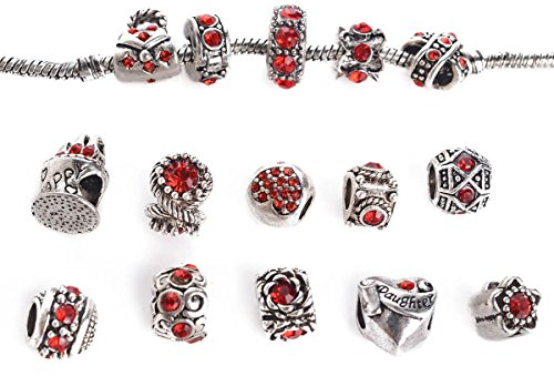 Yeshan 12pcs Antique Silver Crystal Rhinestone Birthstone Bead Charm Spacer with a Snake Chain Charm Bracelet Free,red ()