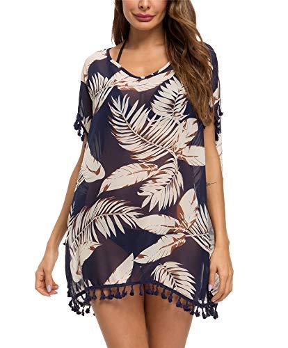 Taydey Women's Stylish Chiffon Tassel Beachwear Bikini Swimsuit Cover up (K-Navy Leaf, One Size)