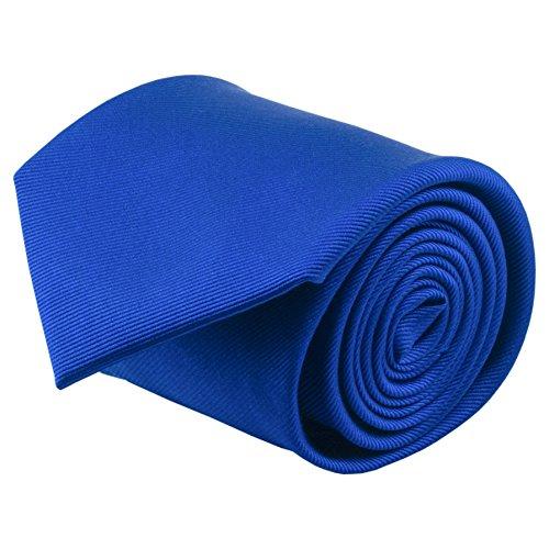 Silk Blue Ties Narrow (100% Silk Handmade Royal Blue Solid Color Tie Men's Necktie by John William)