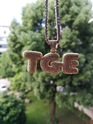 92f95c683 HECHUANG Micropave Simulated Diamond Iced Out Bling Custom Bubble Letters  Necklace Personalized Customized Name Initial Necklace
