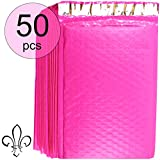 Designer Hot Pink Bubble Mailers (6x10 Inch) | Professional Poly Padded Shipping Envelopes (50 Pack, Size #0) | Thicker Material for Added Privacy