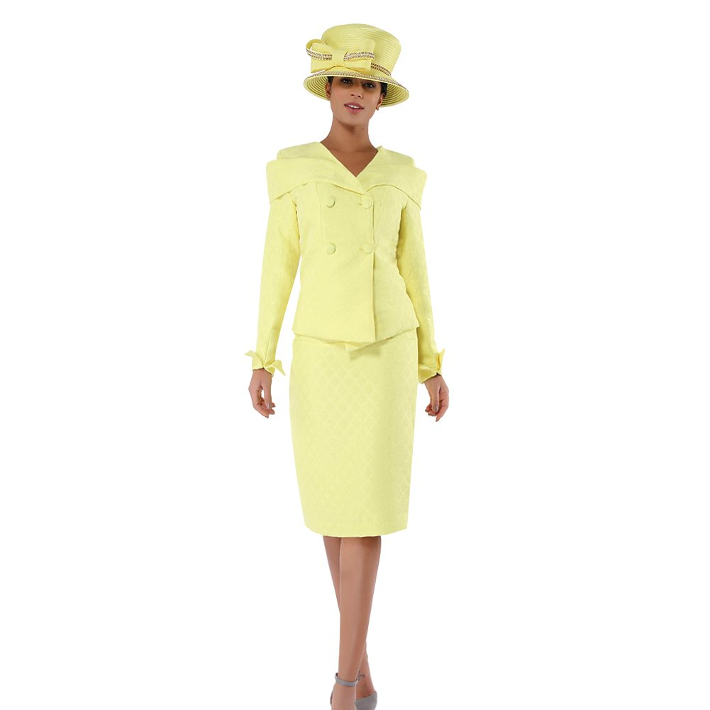 Kueeni Women Church Suits With Hats Church Dress Suit For Ladies Formal Church Clothes Yellow