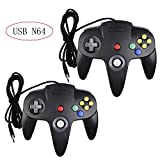 Poulep 2 Packs Classic Retro N64 Bit USB Wired Controllers for PC and Mac (Black and Black)