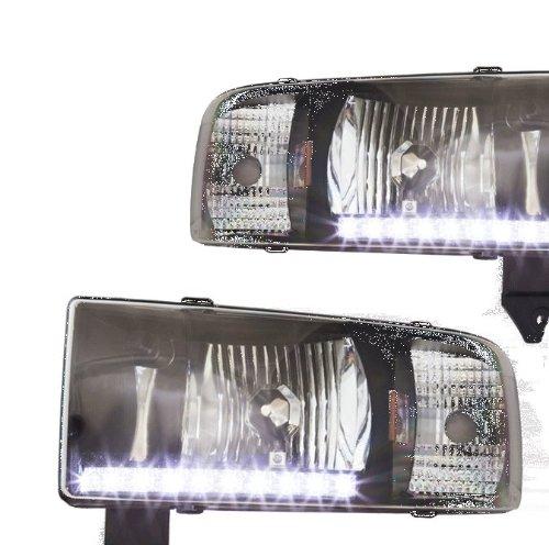 Winjet WJ10-0306-04 LED DRL Headlights for 1994-2002 Dodge Ram 1500 2500 3500 - Black/Clear