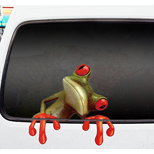Removable Creative 3D Peep Frog Funny Car Stickers Truck Win