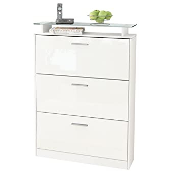 Shoe Cabinet Lavia In White Matt / White High Gloss Part 75
