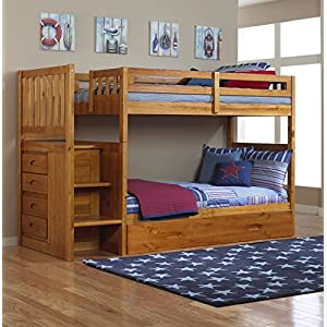 Mission Twin Over Twin Staircase Bunk Bed with Trundle in Honey Finish