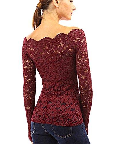 Minetom Mujer Camisa Blusa Manga Larga de Encaje Camiseta Moda Floral Crochet Elegante Tops Off Shoulder Lace Shirt Vino Rojo
