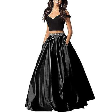 9ce4ee7e0cb4 Kiss Rain Women's Two Piece Off Shoulder A Line Satin Prom Dress Long  Beaded Evening Gown
